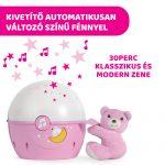 zenélő csillagok projektor és éjjelifény Chicco pink, fény, zene, természethang
