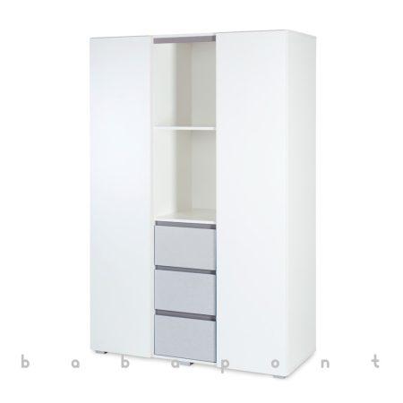 Szekrény KLUPS DALIA ajtós-fiókos fehér-szürke