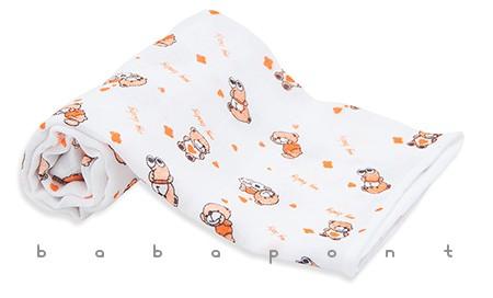 textilpelenka mintás Scamp narancssárga macik