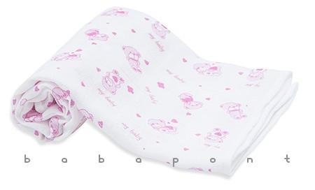 textilpelenka mintás Scamp rózsaszín macik